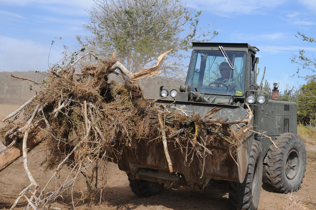 Seabee clears out debris in Cuba.