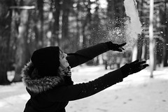 (lizzee.dailey) Tags: trees winter boy blackandwhite sunlight snow cold ice nature girl field leaves forest 50mm model nikon naturallight longisland pines snowball f18 pinetrees throwing snowballfight d60 prossnerpines yaphanknewyork