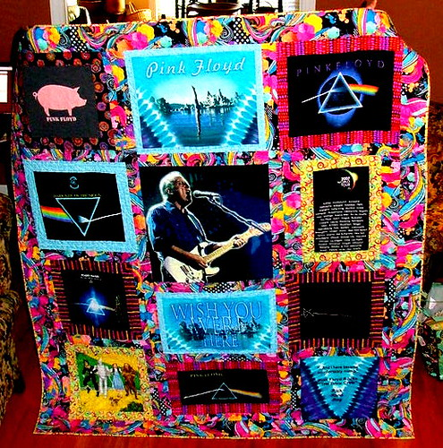 front of Pink Floyd t-shirt quilt