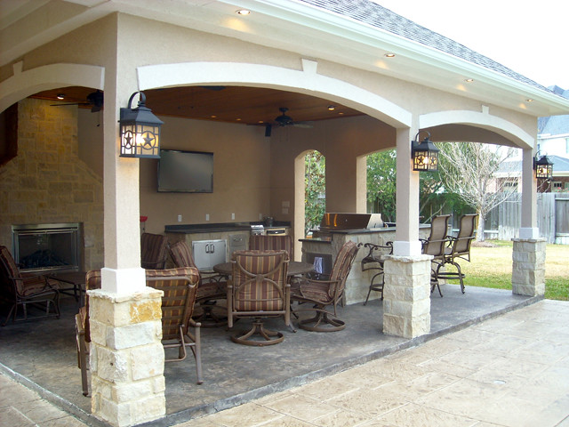 Pool Cabana with outdoor kitchen and outdoor fireplace Cypress