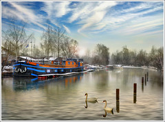 The barge (Jean-Michel Priaux) Tags: winter sky france cold art nature water port photoshop river painting landscape boat peaceful alsace paysage rhine rhein barge anotherworld mattepainting swain ried rhin bteau diebolsheim priaux rhinau