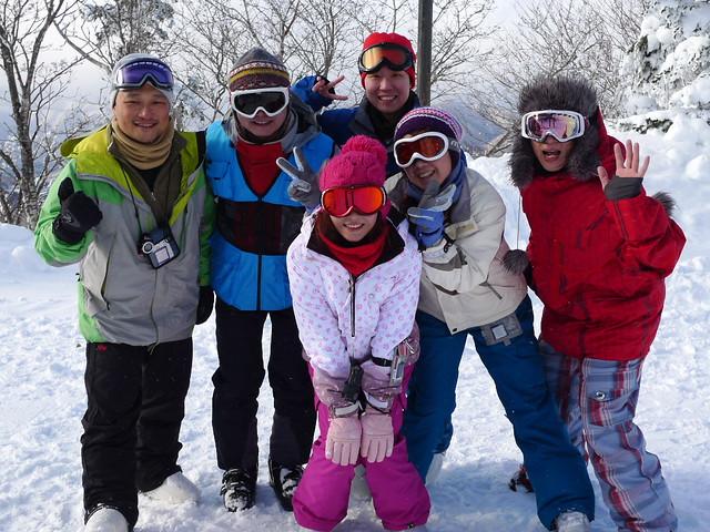 到了Hunter Mountain Shiobara雪場的最高點拍照紀念