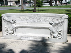 Seat (Terry Hassan) Tags: usa florida palmbeach flaglermuseum whitehall mansion marble white seat seating frieze detail bench sphinx
