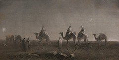 Star of Bethlehem, Magi - wise men or wise kings travel on camels with entourage across the deserts to find the savior, moon, desert, Holy Bible, Etching, 1885