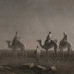 Star of Bethlehem, Magi - wise men or wise kings travel on camels with entourage across the deserts to find the savior, moon, desert, Holy Bible, Etching, 1885 thumbnail