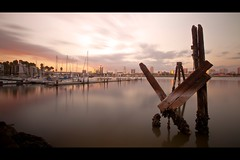 long beach (Eric 5D Mark III) Tags: california longexposure bridge sunset sky cloud reflection water skyline canon river landscape losangeles still cityscape wideangle longbeach ef1635mmf28liiusm eos5dmarkii