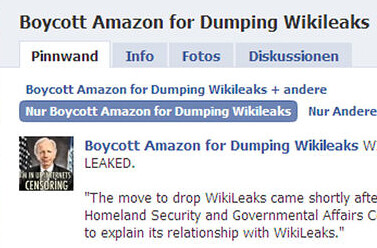 Boycott Amazon for Dumping Wikileaks (screenshot of Facebook page via Kurier.at)