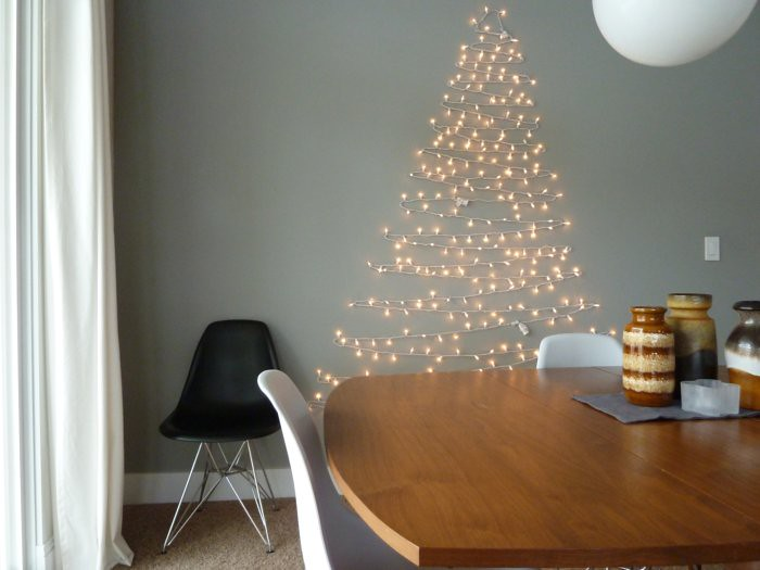 string light Christmas tree | 15 Christmas Tree Alternatives for Small Spaces