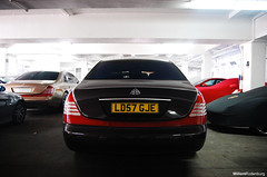 Grosvenor House parking lot. (Willem Rodenburg) Tags: maybach combo bordeaux red purple gold 57 62 57s s zeppelin white stripe black grey rims limited edition lamborghini murchielago lp640 coupe supercombo grosvenor hotel house mayfair park lane arab cars supercar supercars car luxe luxerious exclusieve london londen summer 2010 parking lot uk unitedkingdom united kingdom willem rodenburg nikon d40 1855 photoshop lightroom 3 picasa