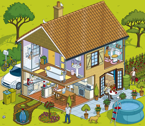 Lyonnaise des Eaux Water Saving House Flash website by Rod Hunt Illustration