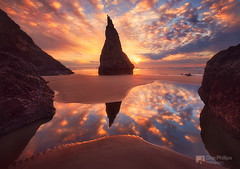 Wizards Hat, Bandon, Oregon Coast (Chip Phillips) Tags: ocean winter sunset sea face rock oregon reflections coast pacific northwest stack bandon wayside