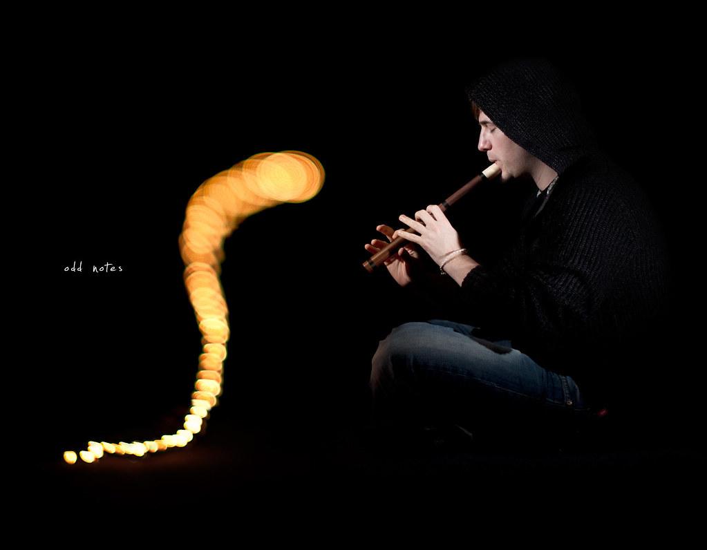 Day 131, 131/365, Project 365, Bokeh, Self Portrait, Strobist, snake, flute, recorder, grid, on black, black background, 50mm, Sigma 50mm F1.4 EX DG HSM, notes, odd notes, music, strange music, snake charmer, serpent charmer