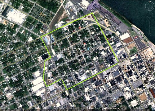 Paducah's LowerTown (via Google Earth)
