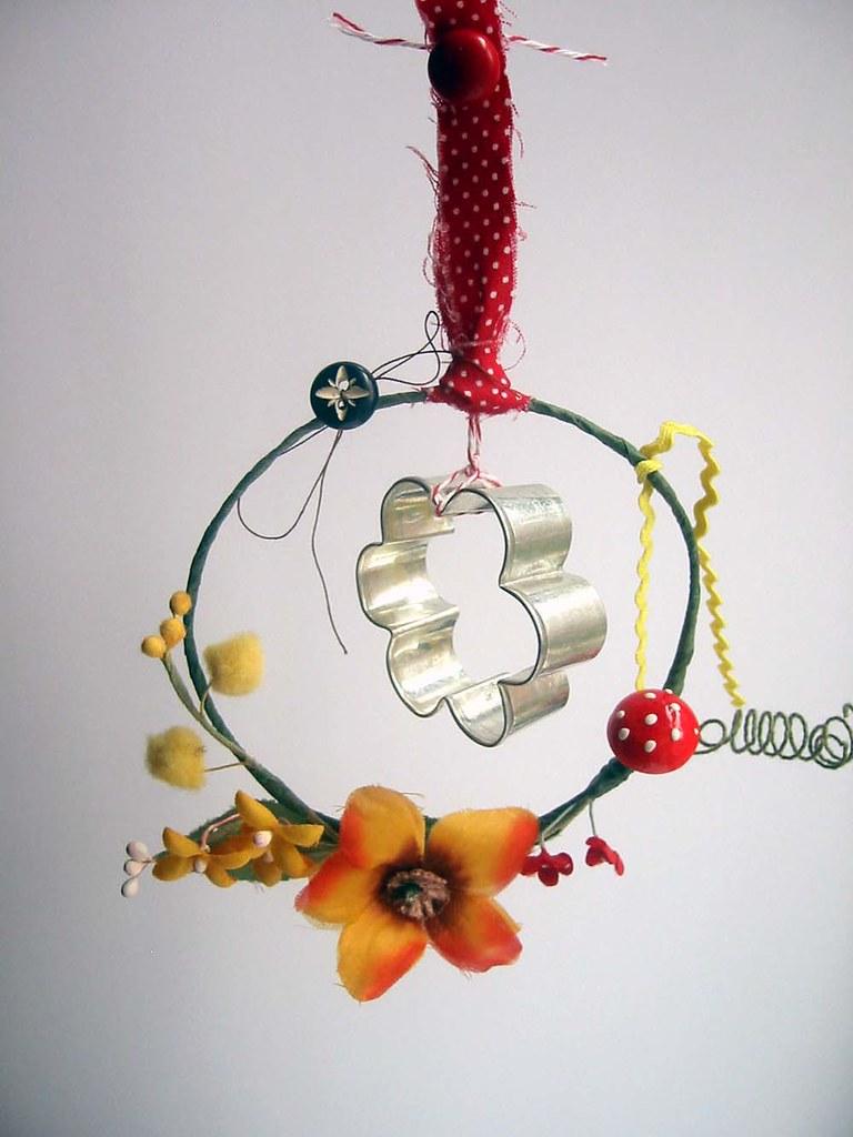 vintage flower cookie cutter mobile
