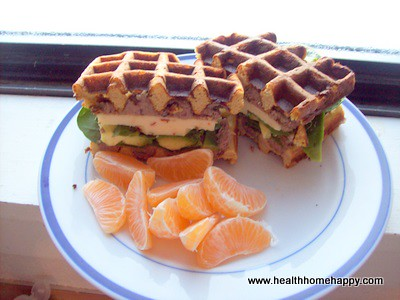 Sandwich made on grain free waffle