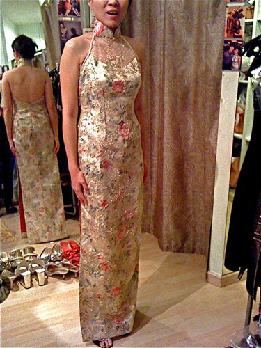 Gold Chinese Silk Brocade with Lace Overlay
