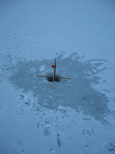 Illegal ice-fishing setup