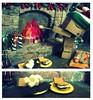 Danbo <3's S'mores (Sock Hop Adoption Shop) Tags: christmas holiday asian actionfigure fire japanese robot yum cardboard smores roastingmarshmellows marshmellows posable danbo cardboardrobot revoltech danboard revoltechdanbo