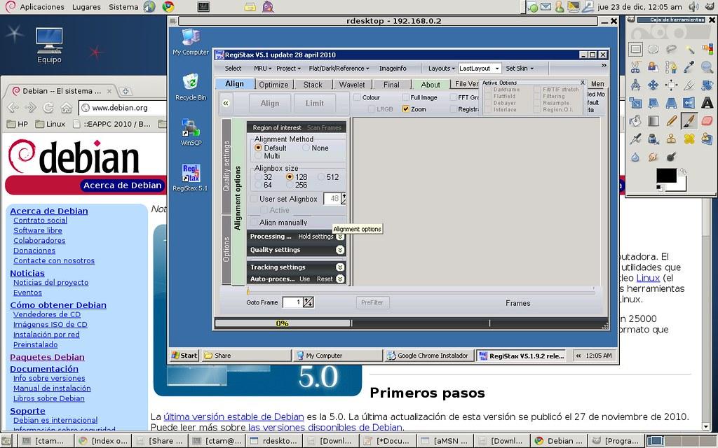Registax+WinXP+Xen+Debian Linux