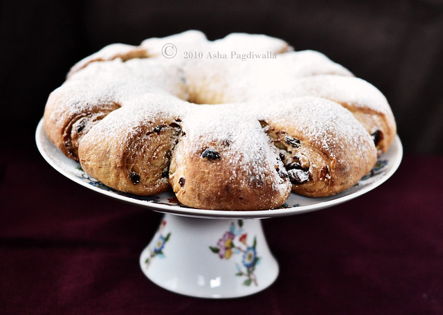 Stollen with chocolate, fruits and marzipan