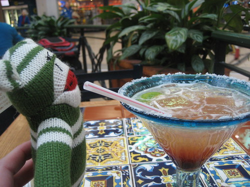 Sock monkey enjoys a margarita