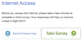 No Internet before you answer our survey - United Airlines