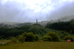 Murray's Monument (I_Am_Not_The_Preacher_Man) Tags: uk red sky cloud mist tree green grass fog forest fence landscape grey scotland unitedkingdom britain tail great overcast obelisk vehicle van redvan rolling mares