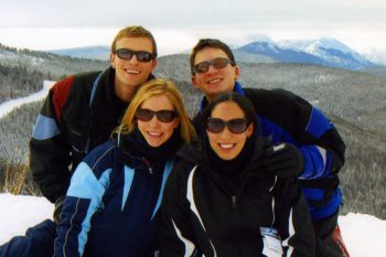 Tom, Christina, Will, and Chea on Vail Mountain, January 1, 2010.