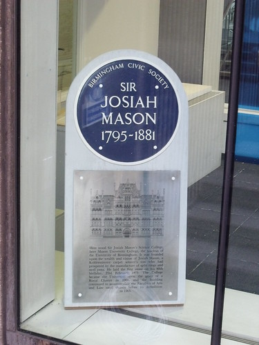 Sir Josiah Mason - blue plaque - Birmingham Central Library