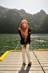 The Lake of Pregnant Maiden (i.am.syahir) Tags: light panorama lake colour colors girl smile yellow island gold still nikon funny asia natural wide sb600 hijab pregnant malaysia langkawi potrait catchy tone maiden pulau kedah bukit bunting tasik dayang potraiture 18135mm d300s