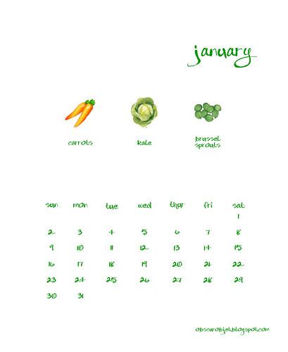 January Fruits and Veggies Calendar