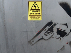 (scott.simpson99) Tags: danger graffiti stencil gun tag weapon spraypaint derby antisocial highvoltage