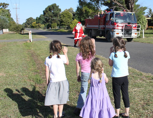 Santa coming on the fire truck