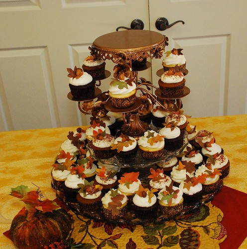 Fall Wedding Cupcake Tower by DixieBelleCupcakeCafe
