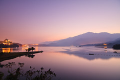 Purple Layers (samyaoo) Tags: morning lake mountains reflection sunrise taiwan     sunmoonlake nantou