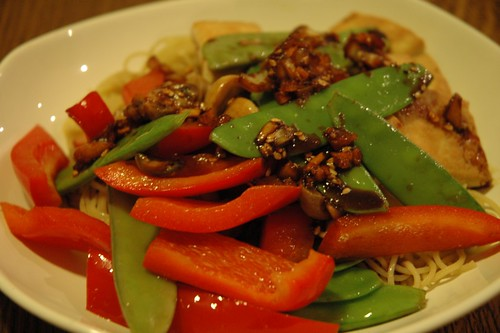 Korean-style pan-fried tofu with veggies