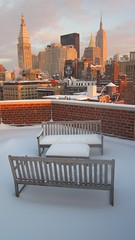 Roof with Snow NYC January 12 2011 (dannydalypix) Tags: newyorkcity snow film movie flickr photograph bankofamerica actor empirestatebuilding blizzard hannibal hanniballecter silenceofthelambs winterlandscape metropolitantower parkbenches 2011 dannydaly rooftopnewyork nylifeinsurance therite mettowernorth