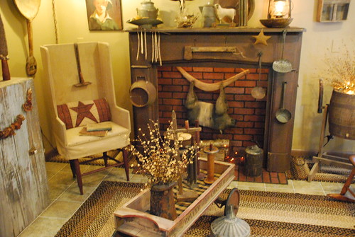 Primitive decorating ideas - wood and wicker