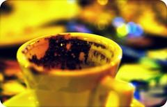 What's My Fortune? (Lanamaniac) Tags: food macro cup coffee yellow brooklyn table cafe nikon december dof bokeh fortune eat espresso nikkor turkish fortunetelling bk tasseography sheepsheadbay d90 masal cmwd cmwdyellow lanamaniac