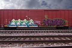 REBUKER • NETO (TRUE 2 DEATH) Tags: railroad sky streetart art clouds train graffiti fb tag graf traintracks trains railcar um spraypaint boxcar alb railways railfan freight neto freighttrain tfl rollingstock rebuker benching freighttraingraffiti