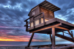 Tower 14 (Didenze) Tags: blue sunset sky beach clouds lifeguard explore sanclemente frontpage hdr canon450d tower14 didenze