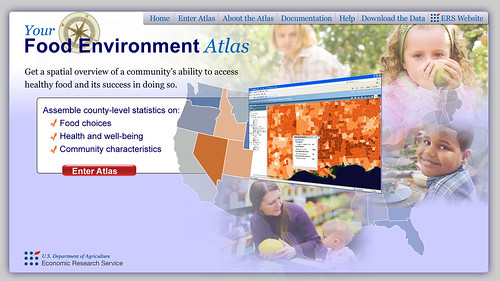 Home page of online mapping tool, the Food Environment Atlas