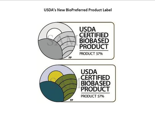 Two examples of USDA's new biopreferred label.
