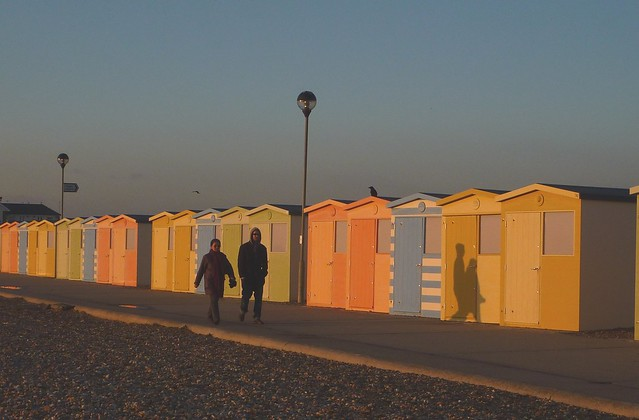 beach huts and afternoon sun