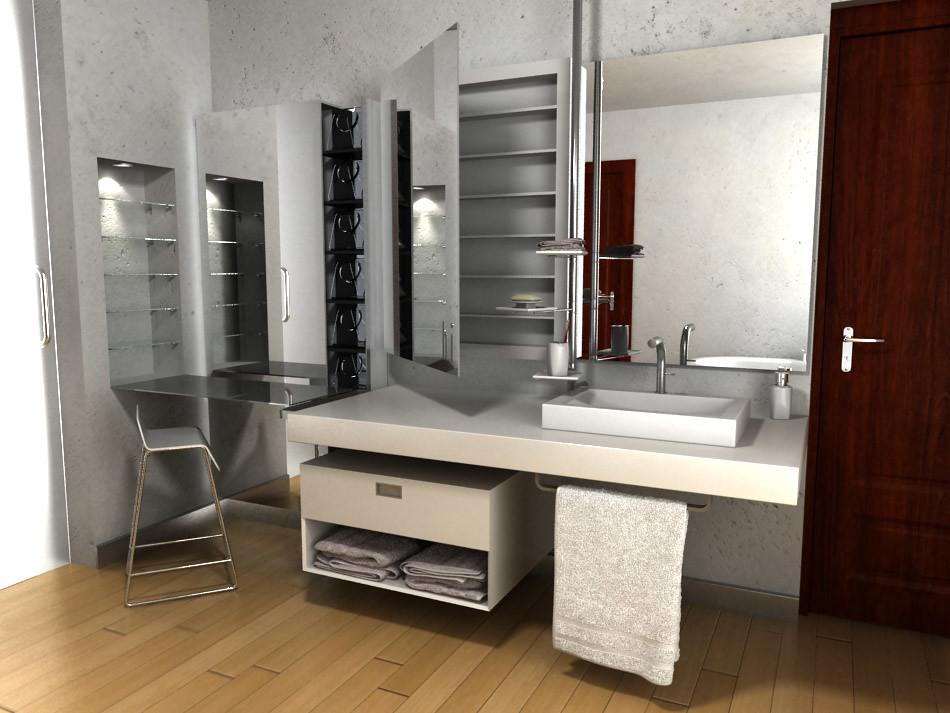 Fantástico Tocadores De Baño Con Mueble Mostrador De Maquillaje ...