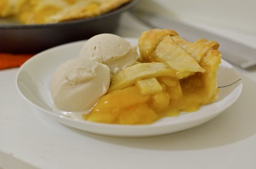 peach pie, ginger ice cream