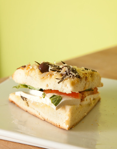 Homemade Focaccia with mozzarella, tomato, and basil