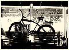 Fat Tire (Samantha Evans of Samantha Evans Photography) Tags: light stilllife classic window lamp lines bicycle sign sepia canon vintage handle fan words display painted seat letters spoke wheels gear ephemera chain marietta pedal handlebars fattire lseries mariettasquare mariettaga canon24105 canon60d johnniemaccrackens