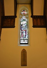 St Michael's War Chapel window to the memory of deceased choristers of St Peter's Anglican Church, Glenelg, South Australia (contemplari1940) Tags: stjoanofarc stained glass window memorial deceasedchoristers warchapel stmichaelschapel glenelg hrcavalier rector wtcollyer contractor heatonbutlerbayne northwilliams reredosaltar tasmanianoak gksoward architect nigelsomersetdso sirrosssmith aviator rosssmithdfcmc