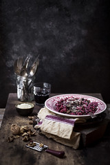 Red Beet Spaetzle (saraghedina) Tags: spaetzle red beet fall autumn walnuts gnocchi italian foodphotography foodstyling vertical canon rustic stilllife vintage texture purple pink homemade homecooking vegan 100vegan
